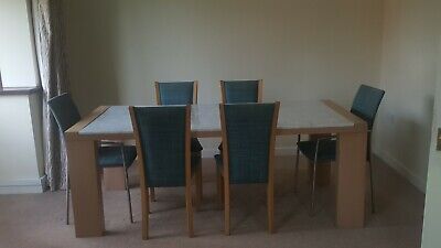 Skovby Marble Dining Table With 6 Chairs Used In Very Good Condition • 450£
