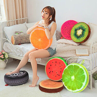 Soft Round Pillow Plush Cushion Orange Kiwi Watermelon Fruit Seat Toys Seat Pads • 6.39£