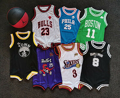 AU25.95 • Buy Au Stock Baby Bulls Basketball Jersey Infant  Romper Jumpsuit Jersey