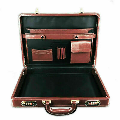 Designer Men's Executive Briefcase Travel PU Leather Combination Locks BROWN New • 28.75£