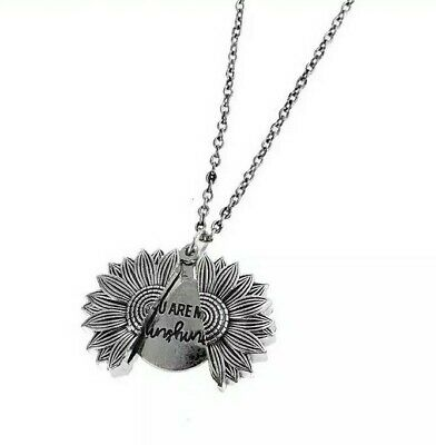 AU5.95 • Buy Sunflower Pendant Necklace Open Locket Silver Chain You Are My Sunshine Bococo