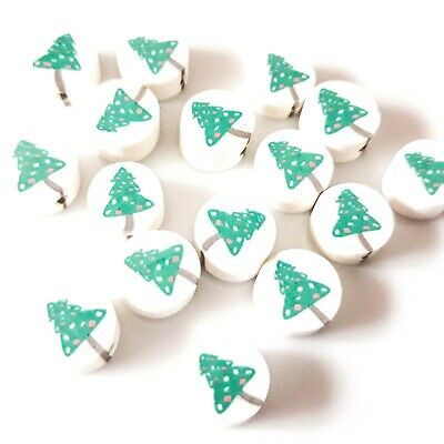 20x Clay Christmas Tree Round Disc Beads Jewellery Making Crafts • 1£