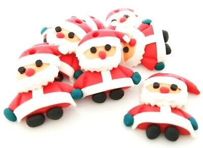 2x Polymer Clay Santa Claus Father Christmas Charm Jewellery Making Crafts • 1.10£