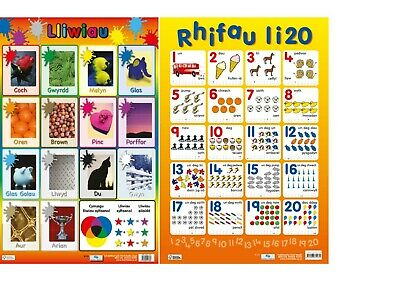 Welsh Early Learning / Colours - Numbers 1-20 / A2 Size - 60 X 40 Cm • 5.99£