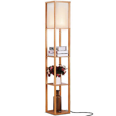 £54.46 • Buy Brightech Maxwell Standing Tower Floor Lamp With Shelves And LED Bulb, Wood
