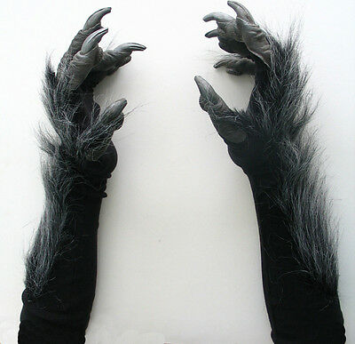Killer Gray Werewolf Wolf Claws Hands Adult Scary Halloween Costume Gloves • 22.50£