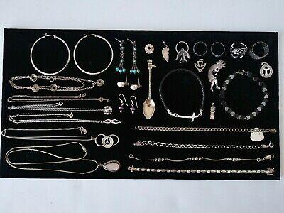 $ CDN52.32 • Buy Vtg 925 Sterling Silver HUGE Jewelry Lot 96.1 G Bracelet Earrings Necklaces Ring