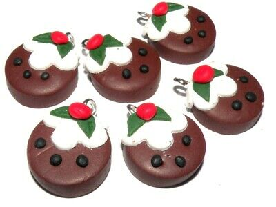 2x Polymer Clay Disc Christmas Pudding Charms Jewellery Making Crafts • 1.25£
