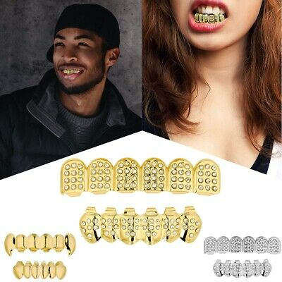 24k Plated Diamond Teeth Mouth Grillz Grills Bling Hip Hop Cosplay Silver Gold • 4.99£