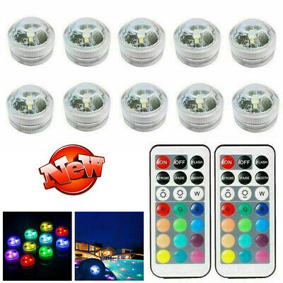 10X Submersible Underwater Waterproof Remote Control RGB Colored Decor LED Light • 12.99£