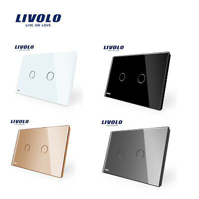 AU35.26 • Buy LIVOLO AU Standard 2Gang 1Way Touch Glass Panel Wall Switches Light Switch