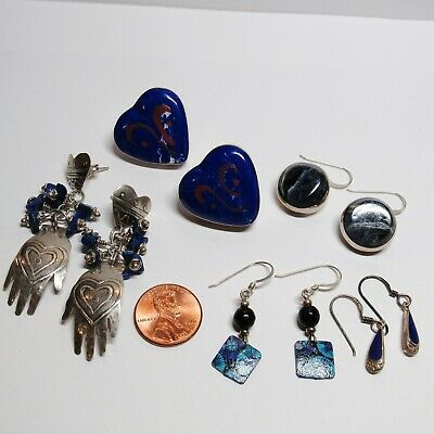 $ CDN100.40 • Buy 5 PC Lot Sterling Silver Earrings Lapis Lazuli Hands Dangles Hearts 43.3 Grams