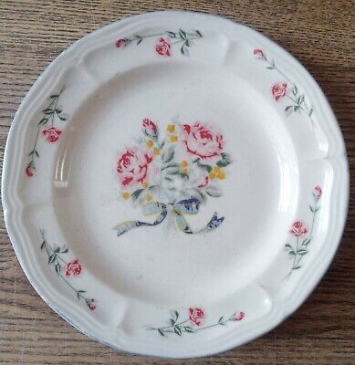£4.99 • Buy CROWN DYNASTY Pink/Red Rose / Yellow Flower  Bouquet Pattern  7.5 Inch Plate