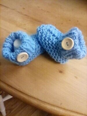 Baby Boys/girls Hand Knitted Cuffed Uggish  Style Booties Newborn  • 2.99£