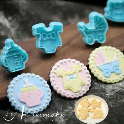 £2.28 • Buy Cake Biscuit Mold Baby Fondant Baking 4pcs Mould Cute Cookies Plunger Cutter