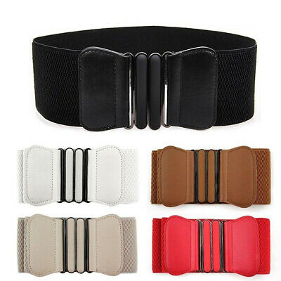 PU Leather Elastic Wide Belt For Women Ladies Dress Stretch Thick Waist Belts • 4.12£