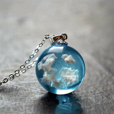 £3.81 • Buy Resin Ball Moon Pendant Necklace Blue Sky White Cloud Chain Necklace JewelryOPT
