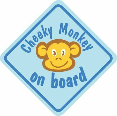 £3.39 • Buy Blue Cheeky Monkey On Board Car Window Child Safety Sign With Suction Cup