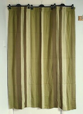 2 Pairs Of Vintage Retro 60s 70s Mid Century Green Striped Curtains 46 W X 62 L • 24.99£