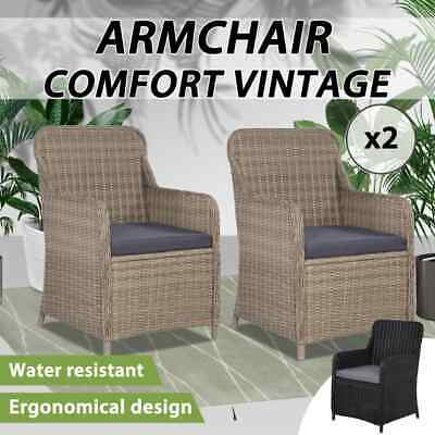 AU312.99 • Buy VidaXL 2x Outdoor Chairs With Cushions Poly Rattan Garden Seating Black/Brown