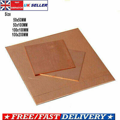 £6.79 • Buy High Purity Solid T2 Copper Square Sheet Plate Board Thick 1/2/3MM DIY Metal