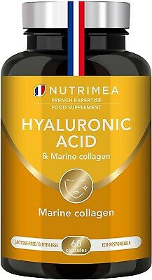 Pure Hyaluronic Acid & Marine Collagen - Natural Anti-Wrinkle 60 Capsules • 18.99£