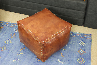 Moroccan Square Pouffe Pouf Ottoman Footstool Natural Tan Leather 45x45x35cm  • 118.85£
