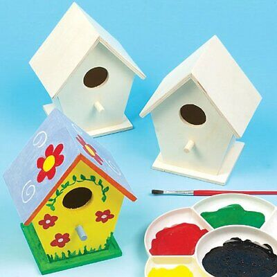 NEW Mini Wooden Birdhouses Box Of 4 For Kids To Decorate Arts And Crafts Tw GIF • 9.45£