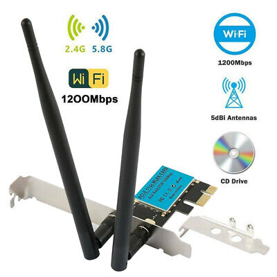 £15.69 • Buy Wireless 1200Mbps PCI-E WiFi Card 2.4/5GHz Dual Band Network Adapter Desktop PC
