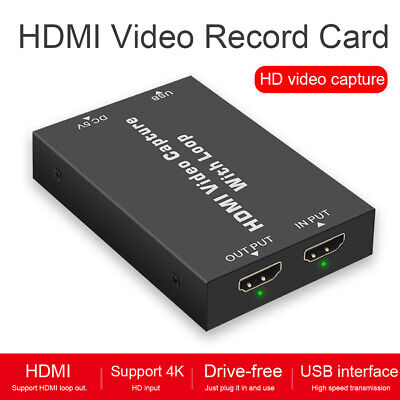 Portable Metal Universal Video Record Card HDMI Loop Output 4K HD Recording Box • 14.36£