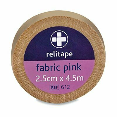 2.5 Cm X 4.5 M Pink Relitape Fabric Elastic Strapping Tape • 5.69£