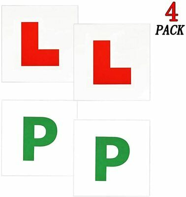 4 Pack, L Plates - P Plates Magnetic Exterior Car Learner Secure Safe Legal Size • 2.45£