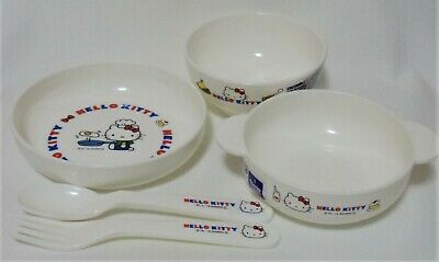 £28.32 • Buy Sanrio Hello Kitty Plastic Ware,Set Of 5,Plate,Soup Plate,Bowl,Spoon,Fork
