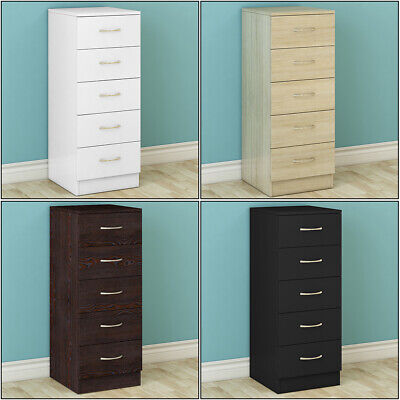£62.95 • Buy 5 Drawers Chest Of Drawers Narrow Tall Cabinet Bedroom Hallway Storage Furniture