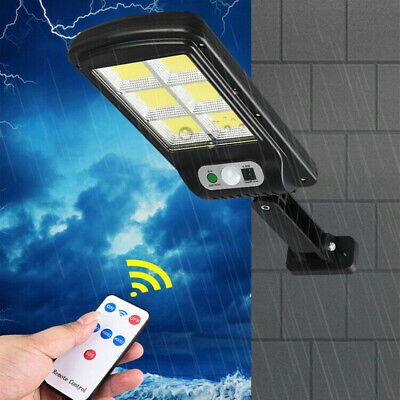 Wall Street Light Solar Powered PIR Motion Lamp Garden Road Path 128 LED COB UK • 14.69£