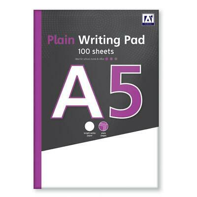 A5 Plain Writing Pad - Refill White Paper 100 Sheets Office Notebook Notepad • 2.39£