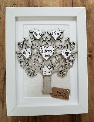10th Wedding Anniversary Gift, Personalised Family Tree Picture Frame, Tin, Ten  • 21.99£