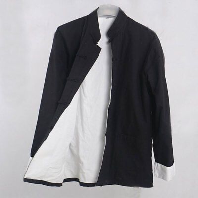 $30.01 • Buy Mens Black Traditional Chinese Clothes Tang Suit Top Kung Fu Outfit Jacket Coat
