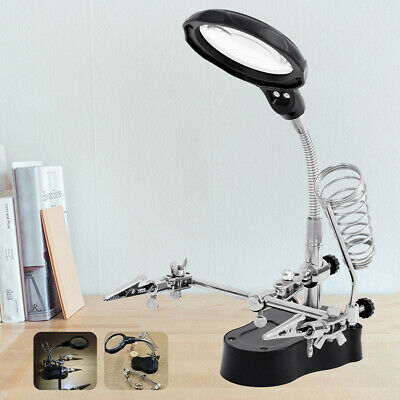 LED Desk Lamp Magnifying Magnifier Glass With Light Stand Clamp For Read Repair • 11.29£