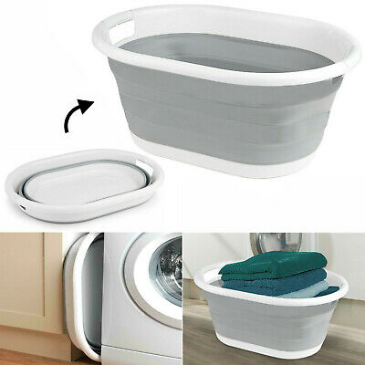 Large Pop Up Folding Collapsible Laundry Basket Space Saving Cloth Washing Bin • 10.95£