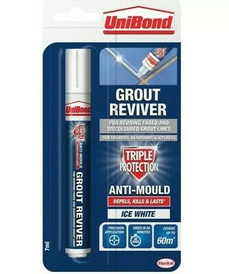 Unibond Grout Pen Reviver 7ml  Anti Mould Whitener Ice White Tile • 5.24£