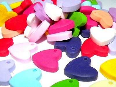 24x Colourful Clay Heart Charms Mix In Pairs Jewellery Making Crafts  • 1.25£
