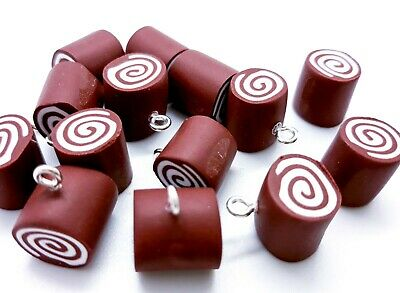 2x Clay Chocolate Swiss Roll Charms Jewellery Making Crafts  • 1.20£