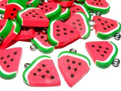 5x Polymer Clay Watermelon Charms Jewellery Making Crafts  • 1£