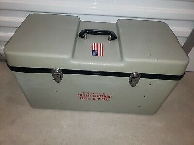 $249 • Buy Vintage U.S Navy Military Hard Resin Ship Instrument Carrying Case