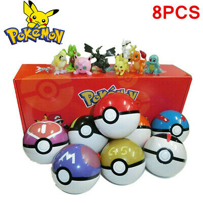 8Pcs Pokeball Pop-up Ball Set Pikachu GO Action Figures Games Christmas Toy Gift • 13.99£
