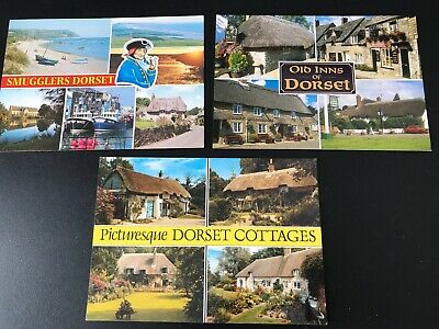 3 UNUSED Salmon Postcards Dorset Inns, Cottages, Smugglers Weymouth FREEPOST • 2.25£