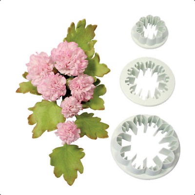 Carnation Flower Plastic Icing Cut Out Cutters Sugarcraft Set Of 3 • 3.69£