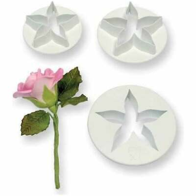 5 Petal Calyx Flower Plastic Icing Cut Out Cutters Plunger Sugarcraft Set Of 3 • 3.49£