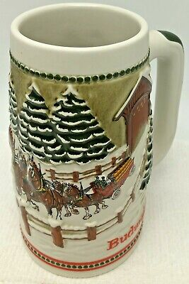 $ CDN15.64 • Buy 1984 Budweiser Beer Stein Mug Clydesdale Covered Bridge Christmas Holiday Series